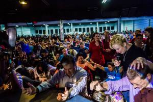 Hundreds flooded to the altar for prayer after Heidi shared her heart with the congregation.